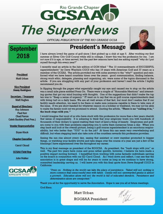 3rd Quarter SuperNews - Rio Grande GCSA